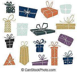 聖誕節, gifts., 矢量, 多彩色, 背景。, 包裝, 白色, 集合