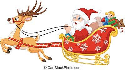 聖誕老人, 他的, 卡通, 雪橇, 聖誕節