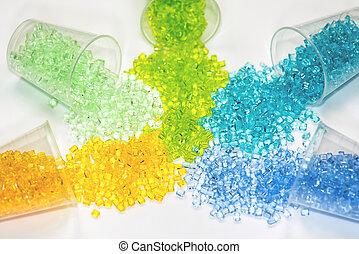 聚合物, 一些, granulates, 透明, 染