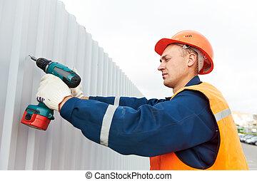 聚集, 工人, 建造者, 建設, 金屬