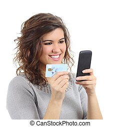 聰明, 信用, 婦女藏品, 購買, 卡片, 電話, 美麗