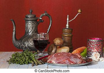 肉, 未經訓練的羔羊, 蔬菜