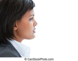 肖像, 事務, 工作, 婦女, 沉思