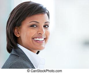 肖像, 事務, 工作, 微笑的婦女