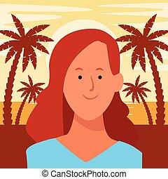 肖像, 卡通, avatar, 婦女