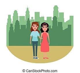 肖像, 婦女, 字, 卡通, avatar