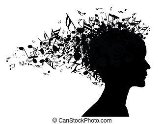 肖像, 婦女, 黑色半面畫像, 音樂