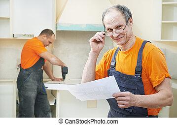 肖像, 工人, 安裝, 廚房