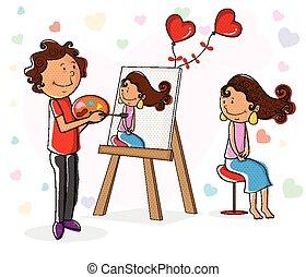 肖像, 男孩, 女孩, 畫, 情人