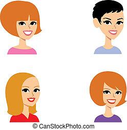 肖像, 集合, 卡通, avatar