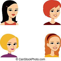 肖像, avatar, 婦女, 系列