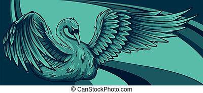 背景, 上色, swan., 插圖, 天鵝, 矢量