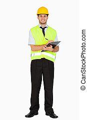 背景, 他的, 針對, 注釋, 短上衣, 微笑, 安全, 剪貼板, 白色, 拿, 領班, 年輕