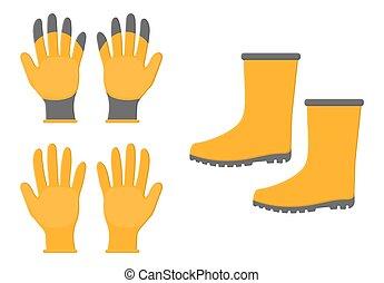 背景。, 卡通, 靴子, 被隔离, 風格, tools., design., 園藝, 橡膠, 矢量, 你, 黃色, 白色, 插圖, 手套