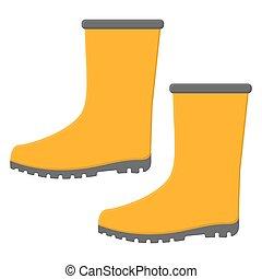 背景。, 卡通, 靴子, 風格, 被隔离, design., 橡膠, 矢量, 你, 黃色, 白色, 插圖