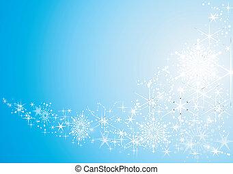 背景, 喜慶, 摘要, 雪, 星, 晴朗, flakes.