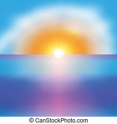 背景, 太陽, 明亮, 矢量, 海, 日出
