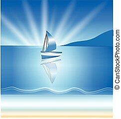 背景, 小船, 波浪