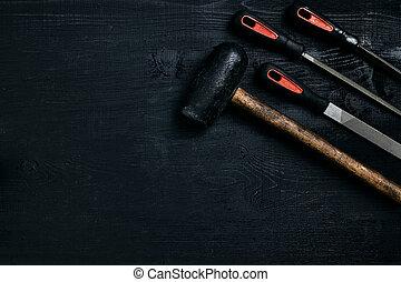 背景, 很多, 木制, 錘子, 黑色, 鋼, 系列, 鋒利, 刀片