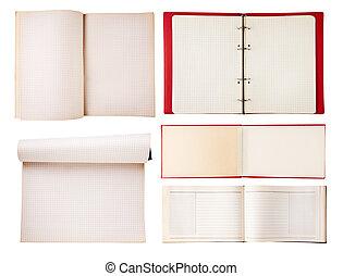 背景, 打開, 被隔离, 集合, 筆記本, 白色