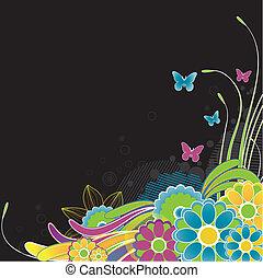 背景。, 摘要, 矢量, 花