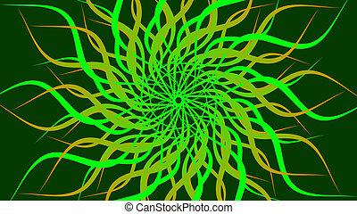 背景。, 旋轉, 螺旋, 摘要, 綠色, 仿造, 鮮艷, 波浪