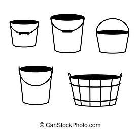 背景。, 桶, 矢量, 白色, 彙整, 各種各樣
