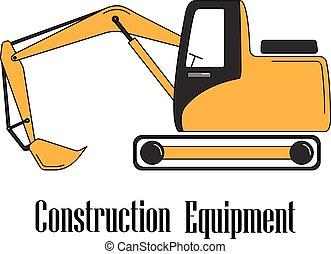 背景。, 白色, 矢量, 插圖, 挖掘機
