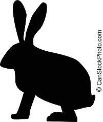 背景。, 白色, 黑色半面畫像, 兔子