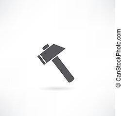 背景。, 白色, 黑色半面畫像, hammer.