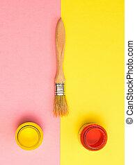 背景。, 粉紅色, 創造性, 畫, 管子, 刷子, 黃色, kit.