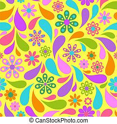 背景。, 花, 鮮艷, 黃色
