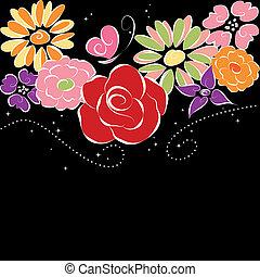 背景, 花, 黑色, 春天, 鮮艷