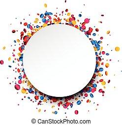 背景, 輪, confetti., 鮮艷