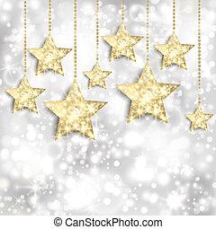 背景, 金, 光, 星, twinkly, 銀