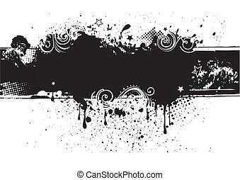 背, 墨水, illustration-grunge, 矢量