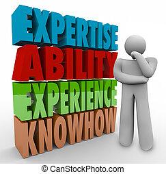 能力, knowhow, 資格, 思想家, 經驗, 工作, 專門技能, criteria