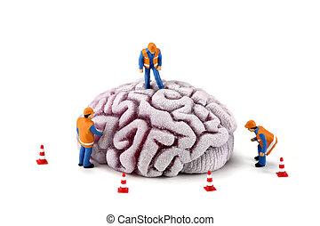 腦子, 工人, 建設, concept:, 檢查