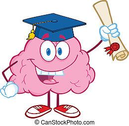 腦子, 愉快, 畢業証書, 舉起
