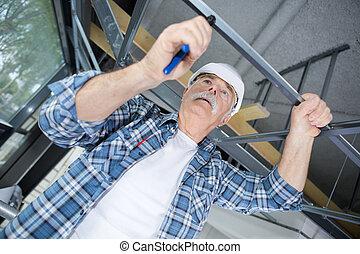 腳手架, 工人, 站點, 安裝, 建設, 年長者