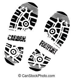 腳, 碳, 印刷品, 鞋子