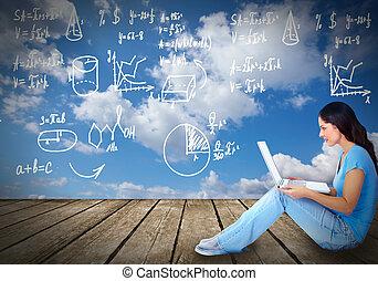 膝上型, 婦女, 年輕, computer.