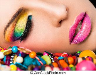 臉, 嘴唇, 婦女, 顏色, 構成