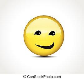 臉, 微笑高興, 按鈕, emoticon