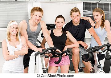 自行車, 人們, 體操, 年輕, 健身, 組