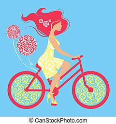 自行車, 女孩, 黑色半面畫像, 美麗
