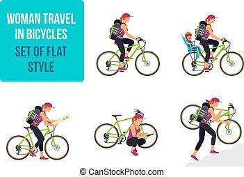 自行車, 婦女, 自行車, travel., 旅行