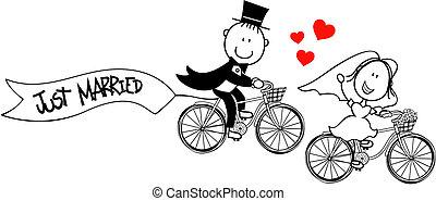 自行車, 有趣, 新郎, 新娘