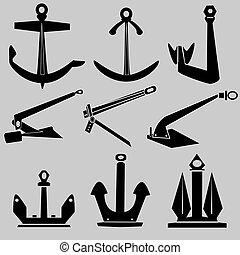 船, 矢量, 黑色半面畫像, 錨