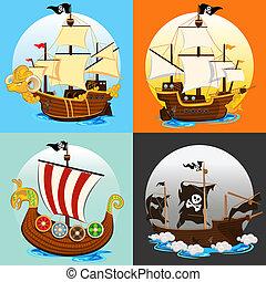 船, 集合, 海盜, 彙整